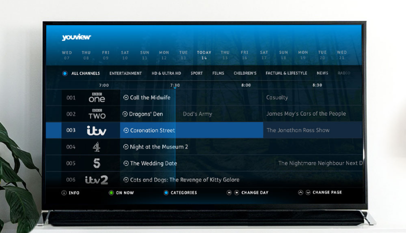 A TV showing the YouView user interface