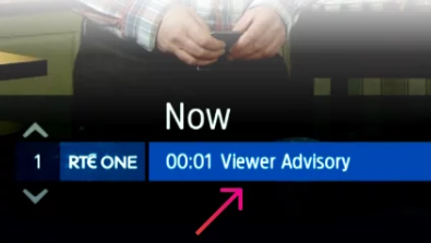 A screenshot of the advisory message appearing on the Saorview EPG